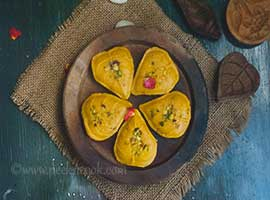 Mango Or Aam Sandesh Or Mango Fudge with chhana