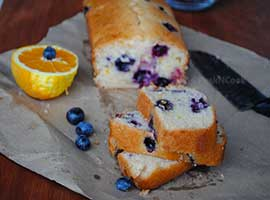 Eggless Butter less Vegan Blueberry & Orange Cake