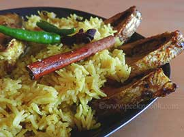 Elish Pulao/Bengali Rice Pilaf With Hilsha Fish