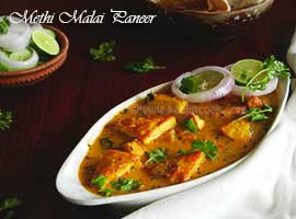 Methi Malai Paneer Or Paneer In Fenugreek Gravy