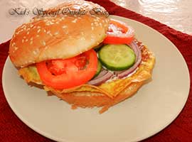 Omelet Burger Or Omelet Sandwich