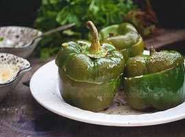 Paneer Stuffed Bell Pepper Or Stuffed Capsicum Baked