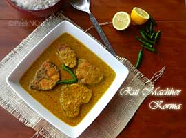 Rui Machher Korma Or Rohu Fish In A Creamy Yogurt Based Gravy
