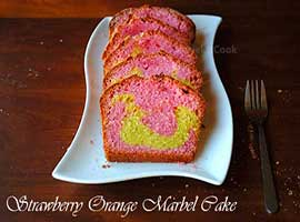 Strawberry Orange Marbel Cake