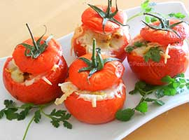 Indian Style Stuffed Tomato With Fish Stuffing